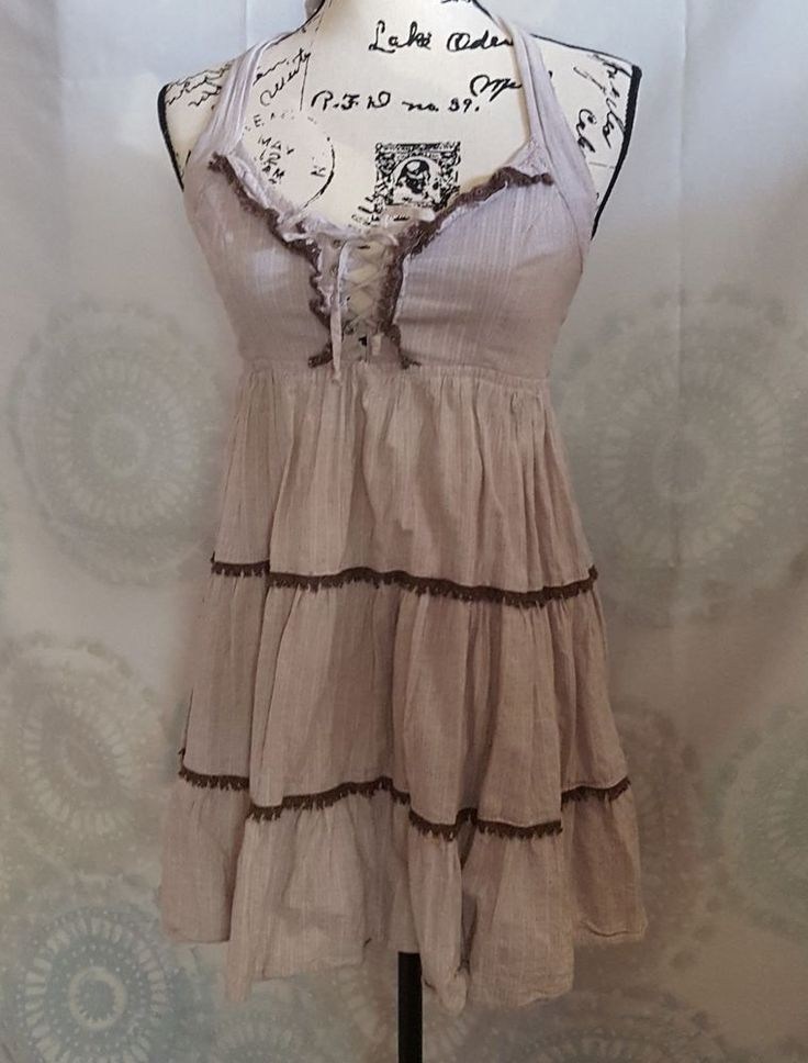 HAVE & HAVE TAN HALTER DRESS SIZE LARGE WITH BROWN LACE TRIM   Clothing, Shoes & Accessories, Women's Clothing, Dresses   eBay!