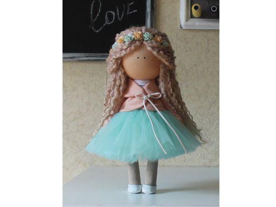 Poupée fait à la main coloris vert blonde à collectionner poupée bébé poupée Decor poupée la maison Tilda poupée unique magique poupée d