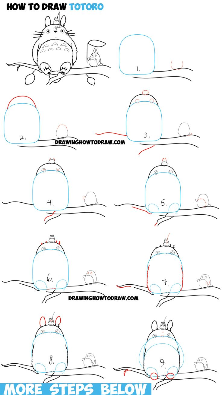 How to Draw Totoro with Small and Medium Totoro - Easy Step by Step Drawing…