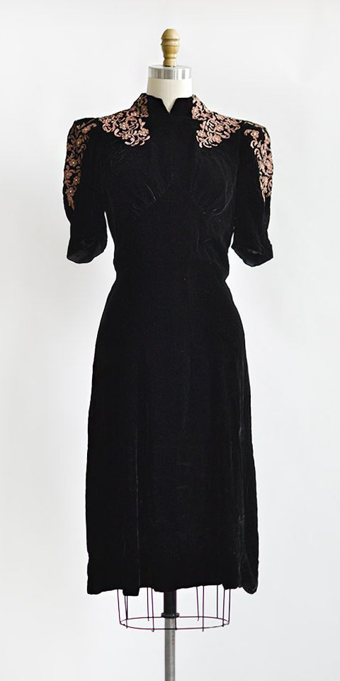 vintage 1930s black velvet mauve applique dress | Guilloche Midnight Dress #1930…