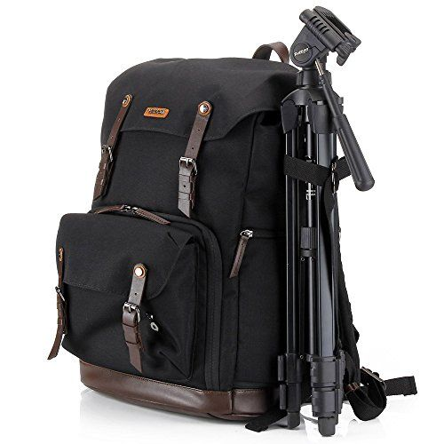 Camera bag backpack laptop dslr insert accessories (waterproof nylon with leather belt) tripod strap gadget bag for sony/canon EOS rebel/nikon/video cameras/lens