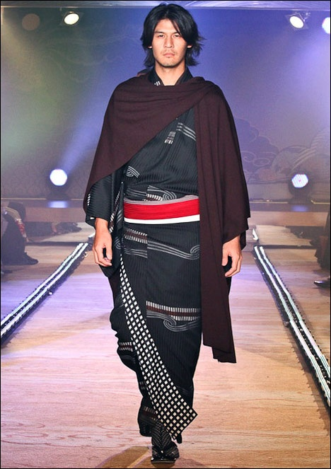 Jotaro Saito AW Kimono #japan #travel #fashion // Can we talk about the amazing combination of Kimono and an almost-Norse looking cloak? Follow us! - http://starshipseraphm.blogspot.com/p/home.html