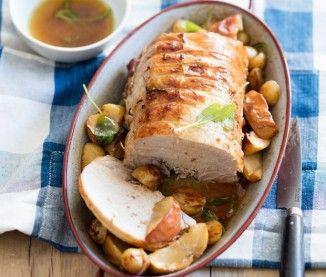 Rôti de porc au cidre brut et aux pommes, sauge et beurre d'Isigny