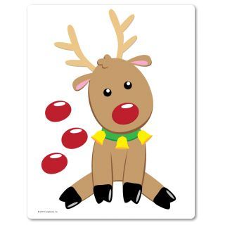 Super cute reindeer pin-the-nose game for kids. Christmas party game.