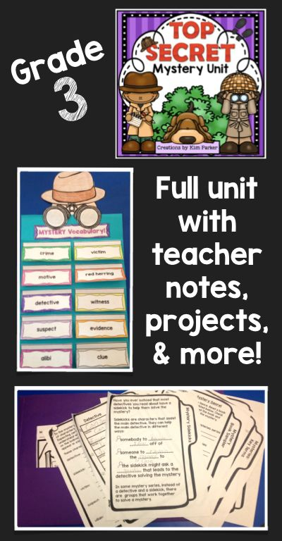 $ Mystery Unit for Third Grade! This is a comprehensive unit that includes key terms, types of mystery plots, mystery characters you might find, how to read a mystery, mystery sidekicks, mystery book sampler with reading summary sheet, explore a mystery series- for reading books across a single series, mystery story map, mystery bookmarks, and a mystery writing project. Includes teacher notes and photos of anchor charts! $…