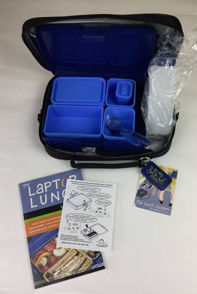 Blue Black LAPTOP LUNCHES Lunch Kit System Bento Box Containers Insulated Case #LaptopLunches