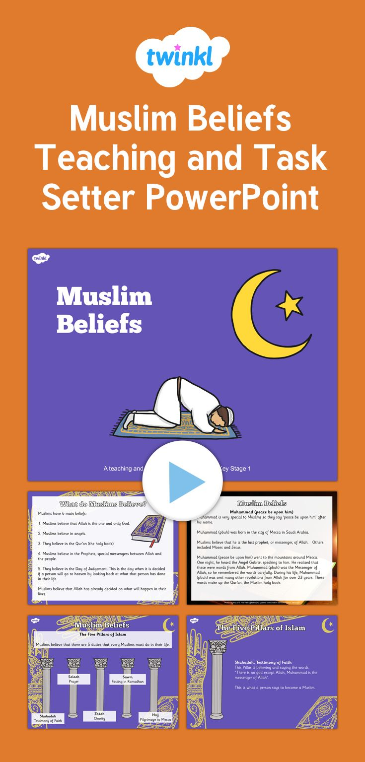 Muslim Beliefs Teaching and Task Setter PowerPoint - This helpful task setting power point will teach children all about what Muslims believe.