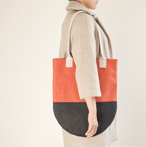 Semi-Circle Color Block Tote - Rust, Navy, Light Beige