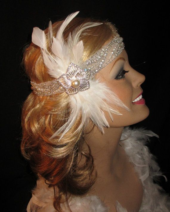 GATSBY GLITZ - Stunning Flapper Headband In Crystals, Pearls White Feathers For Wedding Or Gatsby Party