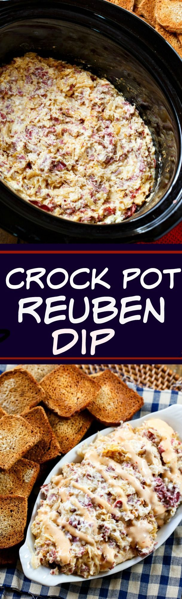 Everyone's favorite sandwich is ever better when it's turned into a dip! This slow cooker ruben dip will be a game day win.