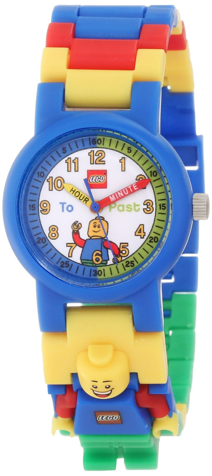"""Amazon.com: LEGO Boys' 9005008 """"Time Teacher"""" Blue Set with Minifigure-Link Watch, Constructible Clock, and Activity Cards: Lego: Watches"""