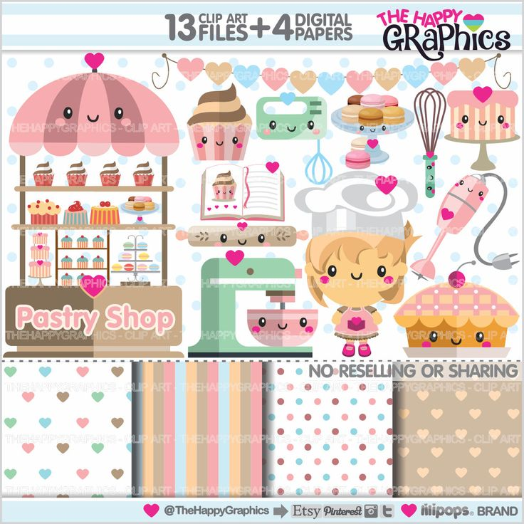 Bakery Clipart, Pastry Clipart, COMMERCIAL USE, Kawaii Clipart, Bakery Graphics, Sweet Clipart, Planner Accessories, Cooking Party, Baking