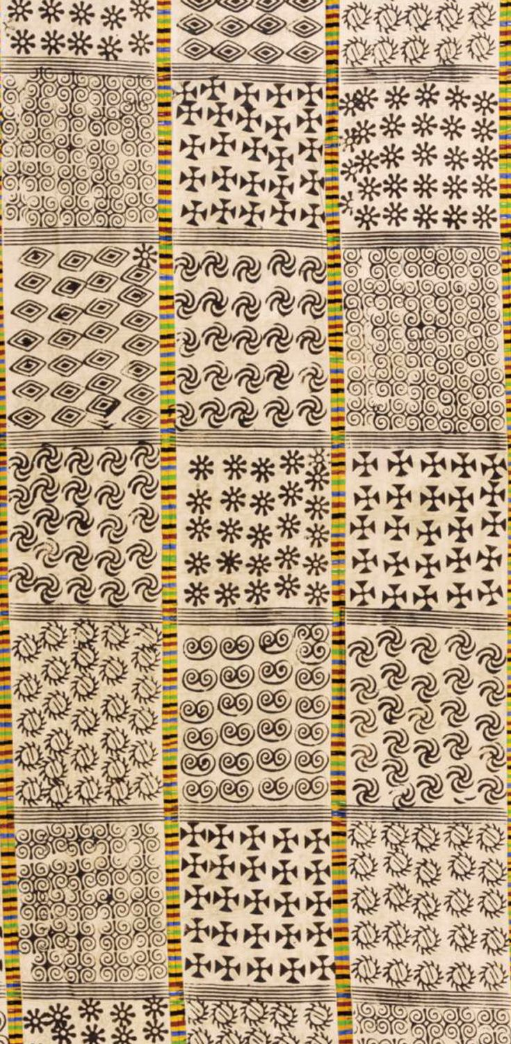 Africa | Adinkra cloth from Ghana; block printed in varied geometrical motifs, in squares divided by multicoloured stripes || Partial View ~ detail