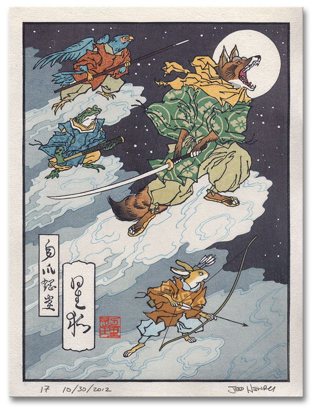 """""""Ukiyo-e Heroes"""" depicts classic video game characters in illustrations inspired by traditional Japanese ukiyo-e woodblock prints."""