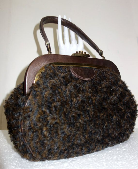 ROGER VAN S. Brown Faux Curly Lamb Handbag by Vintageables on Etsy