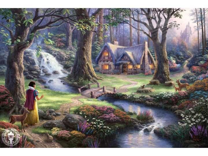 Томас Кинкейд, принцесса, Дисней, арт, замок, мост, домик, вечер, водопад, речка, цветы, деревья, ол обои, фото, картинки.