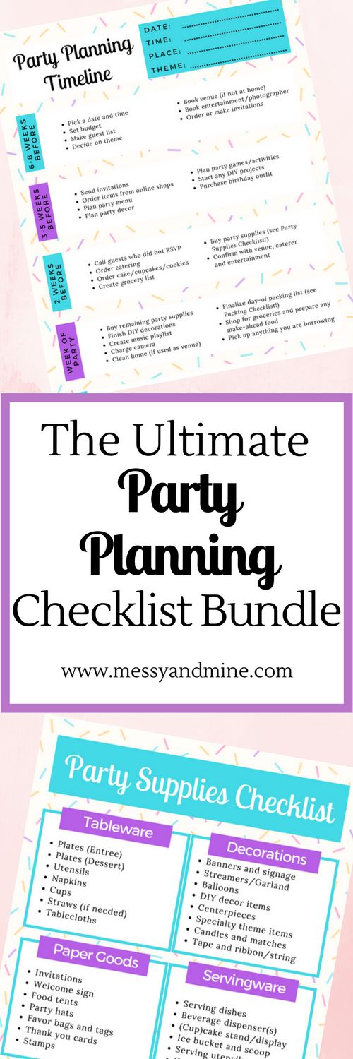 Party Planning Checklist, Party Planning Timeline, Party Supplies Checklist, Guest List Template, Party Packing List