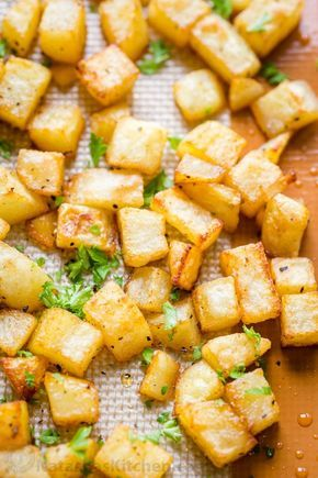 Easy baked breakfast potatoes with simple ingredients (our go-to breakfast potatoes recipe). The best cooking method for potatoes. Each bite is delicious! | natashaskitchen.com