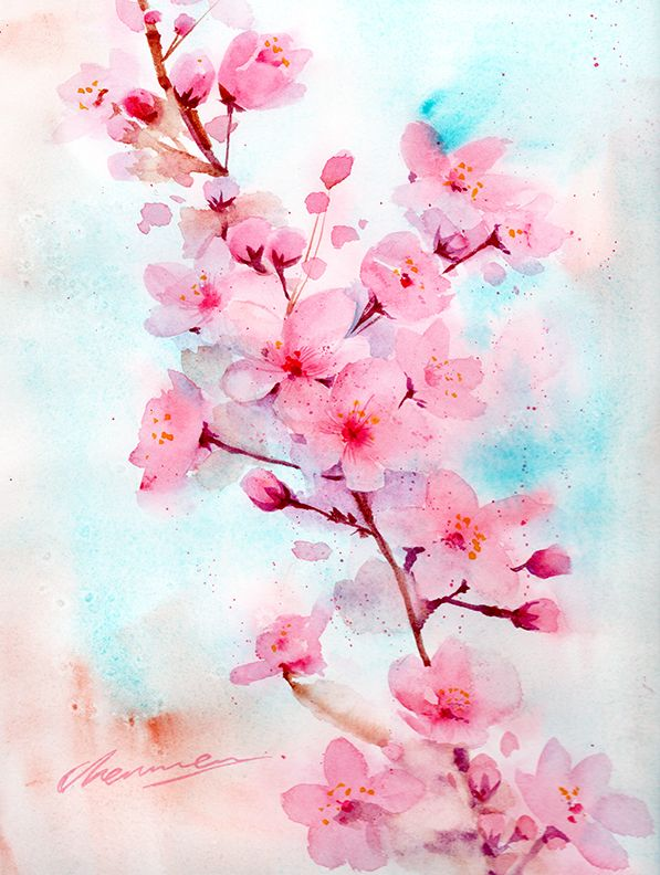 Moonmoonartwork Is Creating Watercolor Paintings And Tutorial Videos Patreon Cherry Blossom Watercolor Cherry Blossom Painting Acrylic Cherry Blossom Art