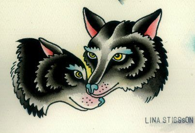 traditional wolf tattoo Lina Stigsson Cool style but I want a mean looking one