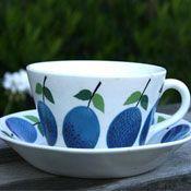 Gustavsberg Prunus Tea Cup and Saucer by Stig Lindberg