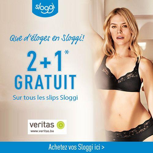 VERİTAS a deux bonnes promotions : - 2+1 GRATUİT sur tous les slips Sloggi. - Deuxième produit homewear à -50%.