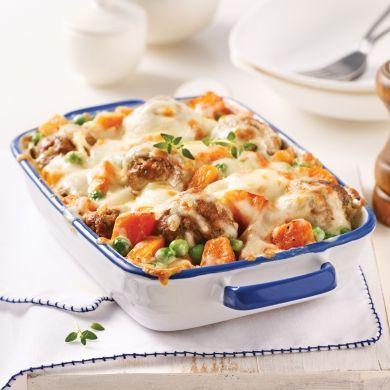Gratin de boulettes à la courge Butternut, sauce Alfredo - Recettes - Cuisine et nutrition - Pratico Pratique