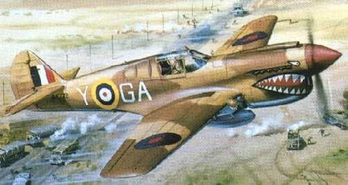 P-40 Kittyhawk 112Sqn Airfix box artwork by Roy Cross