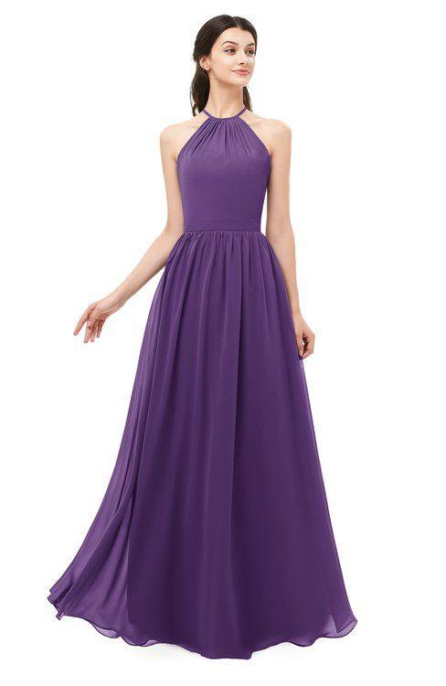 7f58388f38a ColsBM Irene Dark Purple Bridesmaid Dresses Sleeveless Halter Criss-cross  Straps Sexy A-line
