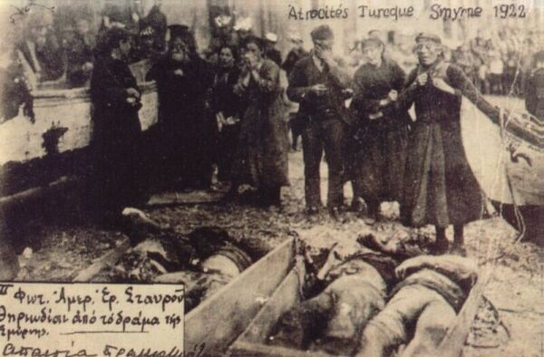 Greek civilians mourn their dead relatives, Smyrna massacre, 1922.