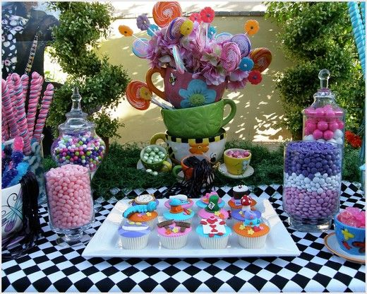 Alice in Wonderland, Mad Tea Party, Candy Buffet Birthday Party Ideas