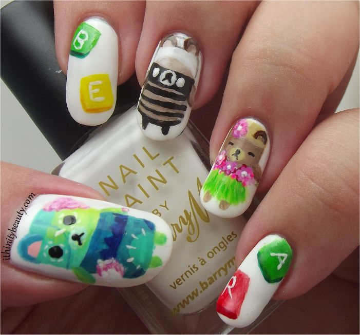 "Ran across this image of an ""alphabear"" mani by Ithinity Beauty - Nail Art Blog: Freehand AlphaBear Nail Art.  She loves the game, too!"
