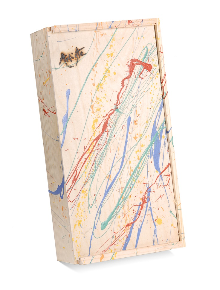 Artiste hand-splatter painted wooden gift boxes are our trademark packaging for Artiste wines.