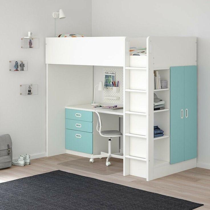 IKEA HOCHBETT STUVA mit Schreibtisch und BÜCHERREGAL TOP ...
