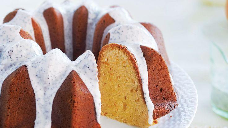 Orange Pound Cake with Poppy Seed Glaze