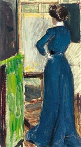 Martha Kurzweil before an easel - Max Kurzweil (Austrian, 1867-1916)
