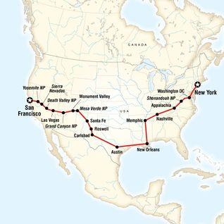 Map of Südstaaten der USA: Von New York nach San Francisco