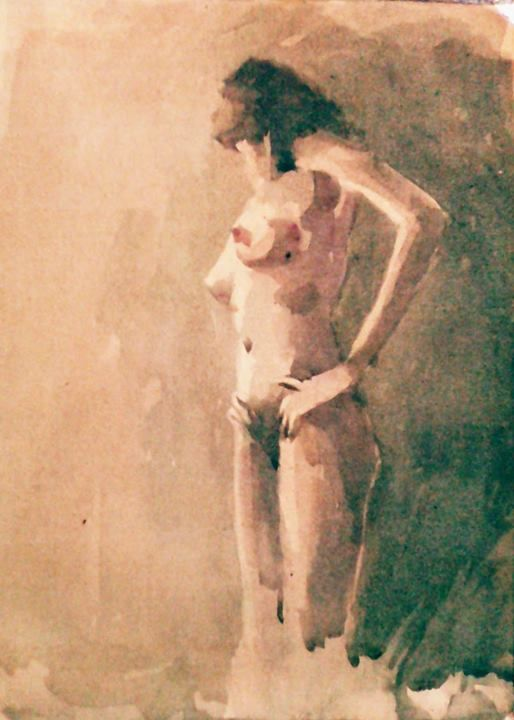 Nude watercolor on paper 12 x 14 inch