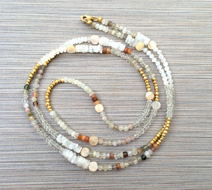 Boho Long Beaded Necklace - Moonstone Gold Pyrite Semi Precious Gemstone Layering Beadwork Necklace, Bohemian Necklace, Gift by loveandlulu by LoveandLulu on Etsy https://www.etsy.com/listing/249490546/boho-long-beaded-necklace-moonstone-gold