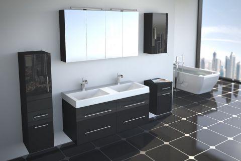 Badmöbel Set 5tlg DUBAI - Hochglanz schwarz - 120 cm - Doppelwaschbecken