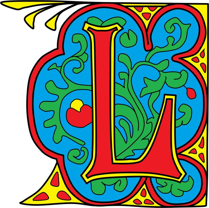 illuminated letter L from illuminated colouring