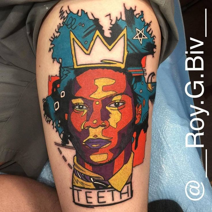 Here is the Jean Michel Basquiat tattoo I did yesterday on