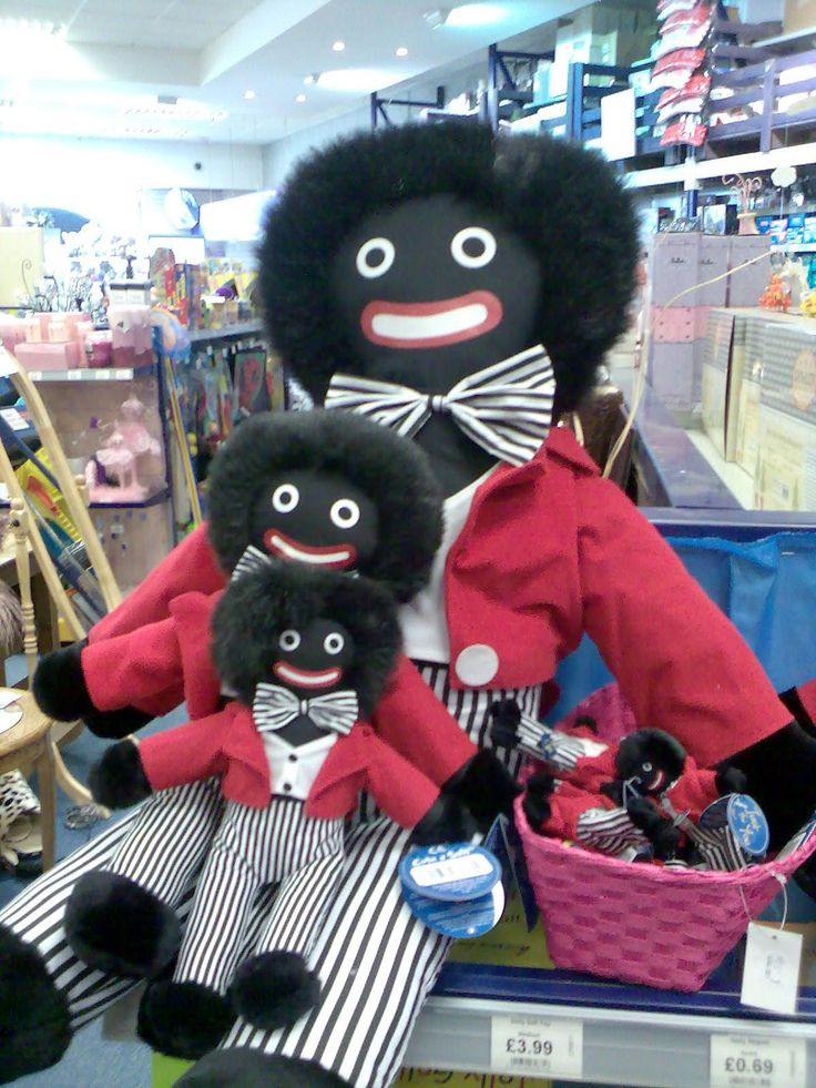 Someone pinned these golliwogs that were for sale in England.  My mother, who was from England used to talk about them, but we thought she was joking. Lo and behold . . .