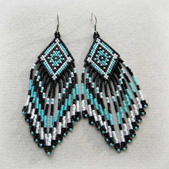 Black / Turquoise / White Ethnic Beaded Earrings  by Anabel27shop