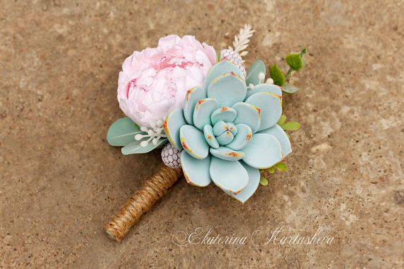 wedding boutonniere succulent grooms boutonniere clay flowers