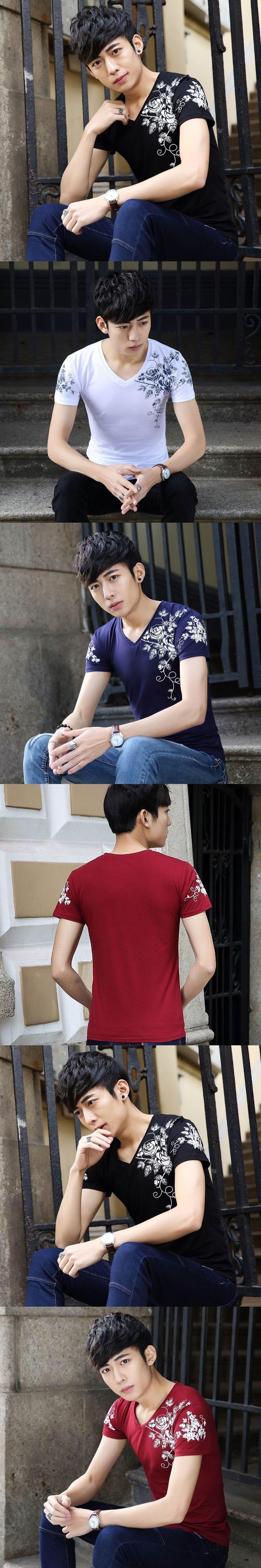 SHIFOPUTI Summer New Style V-neck Print Short Sleeve Slim Fashion Casual Men's Brand Clothing T-shirt High-end Popular Tops Tee