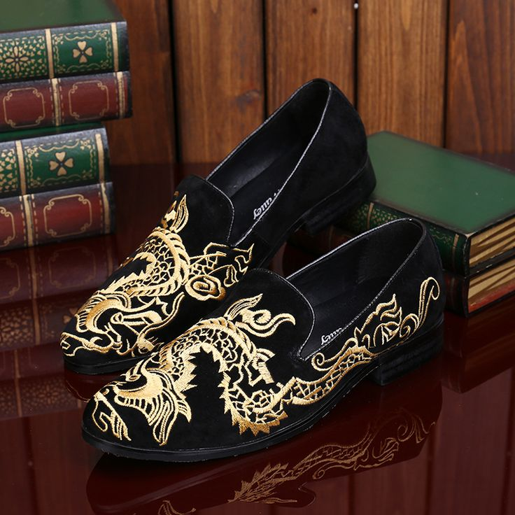 >> Click to Buy << Choudory Men's Gold Chinese Embroidered Shoes Black Velvet Slipper Black Leather Men Loafers Shoes #Affiliate