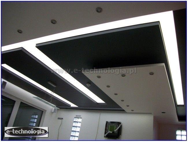 Podświetlenie sufitnu napinanego taśmami LED
