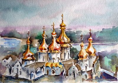 LAURA CLIMENT,  Lavra Kievoperceskaya Watercolor