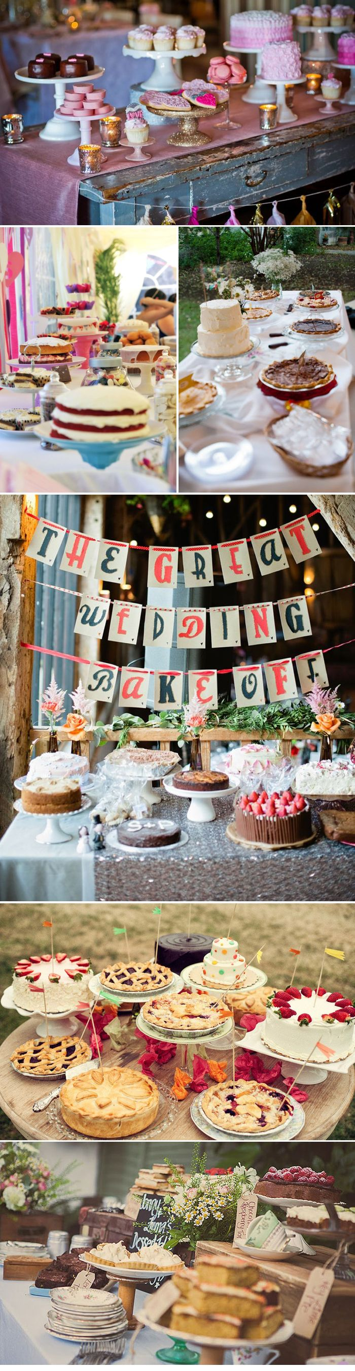 "Love this idea!!! - Instead of a big formal expensive cake - invite guests to take part in the 'Great Wedding Bake Off""!! You get loads of variety and it adds a little fun to the wedding night and desert time!! :) Great Irish Bake Off Inspired Cake Tables"